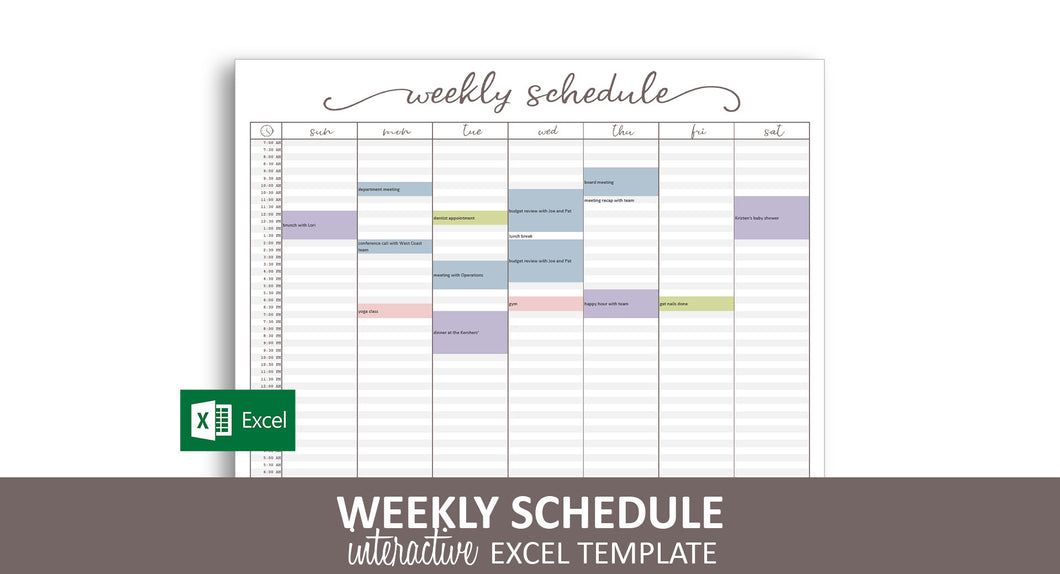 Elegant Weekly Schedule - Excel Template