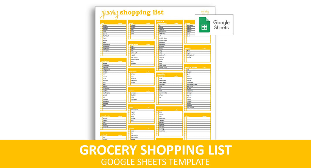 Grocery Shopping List - Google Sheets Template