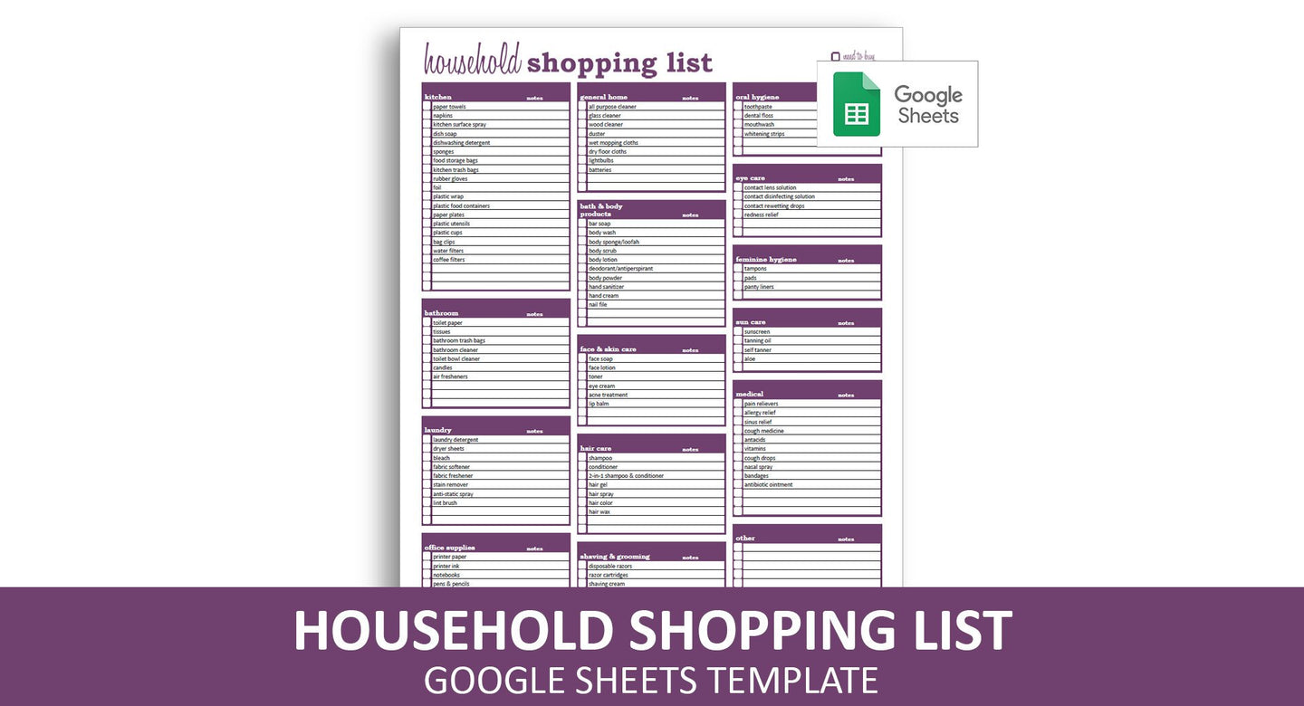 Household Shopping List - Google Sheets Template