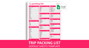 Trip Packing List - Google Sheets Template