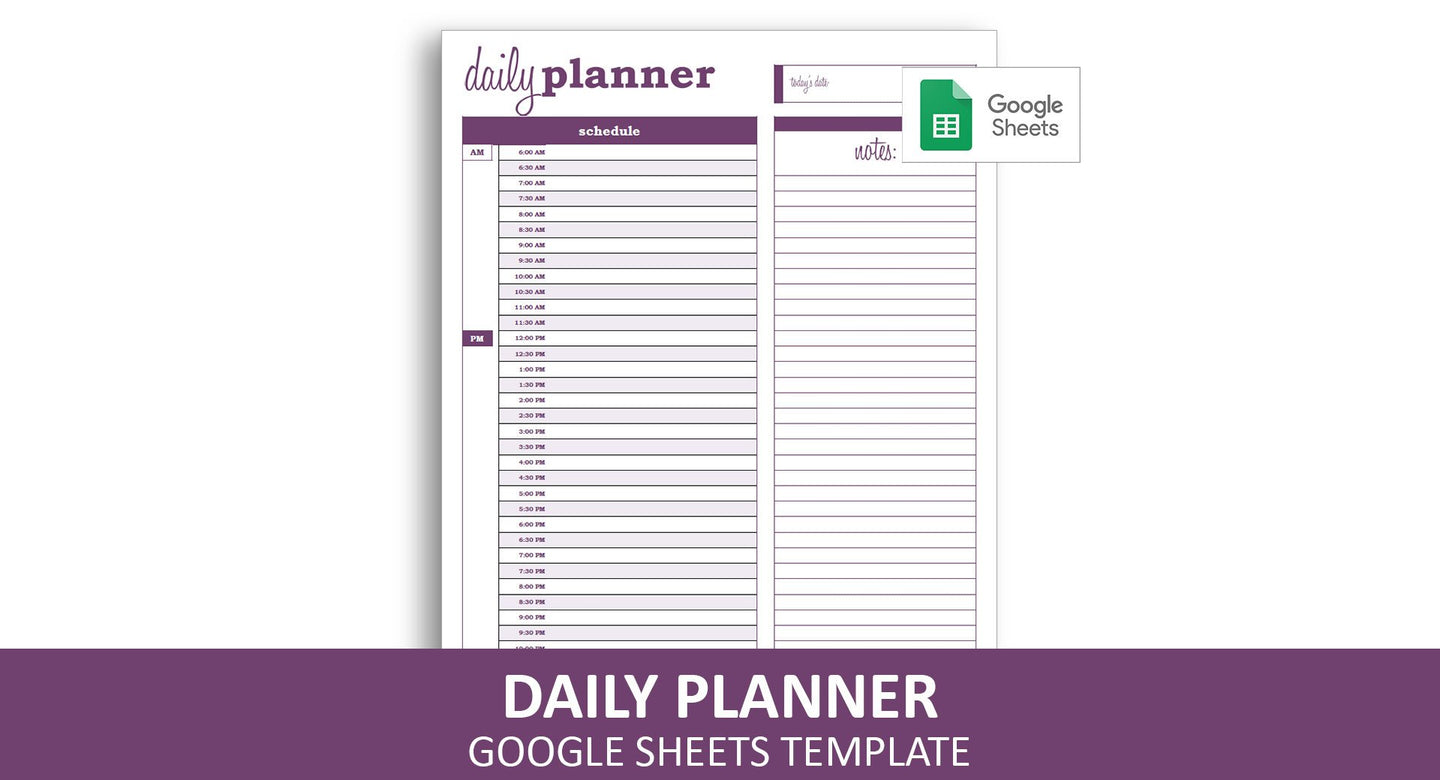 Basic Daily Planner - Google Sheets Template