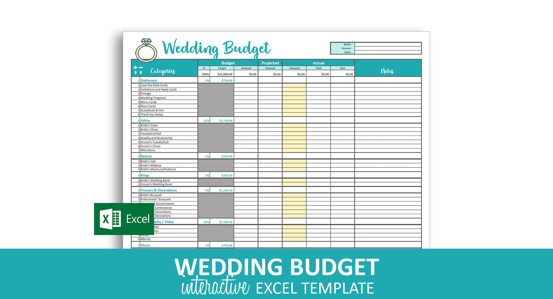 Savvy Wedding Budget Excel Template