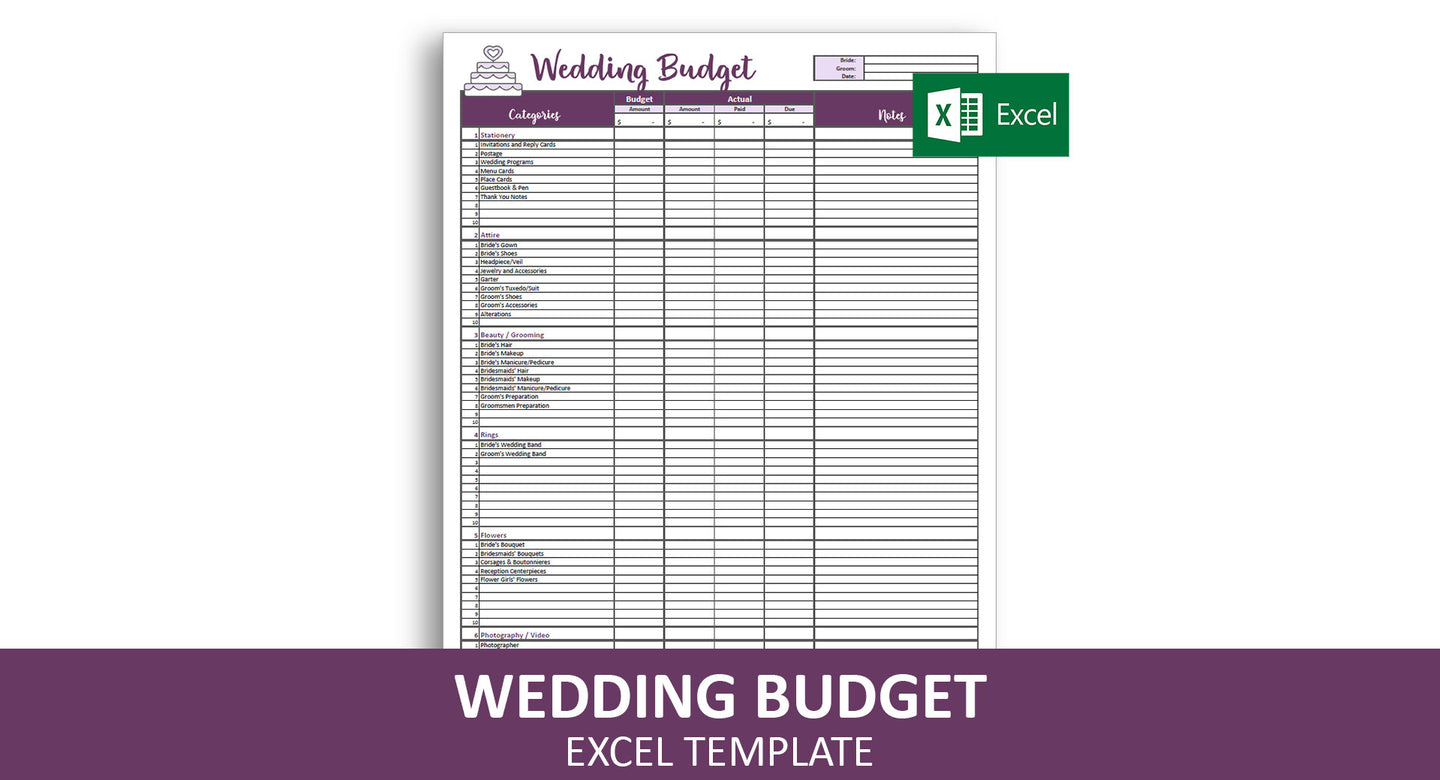 Easy Wedding Budget - Excel Template