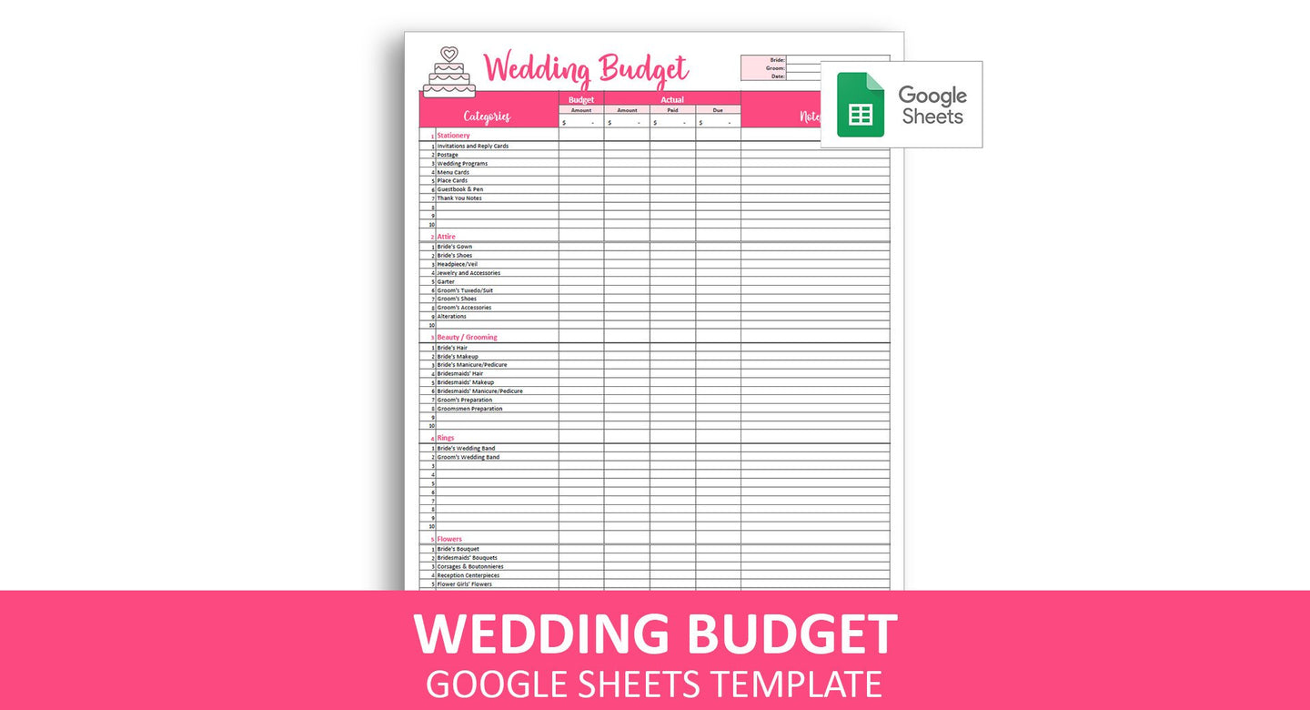 Easy Wedding Budget - Google Sheets Template