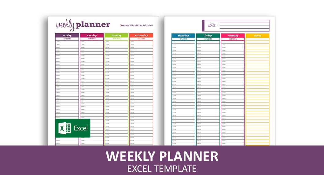 Basic Weekly Planner - Excel Template