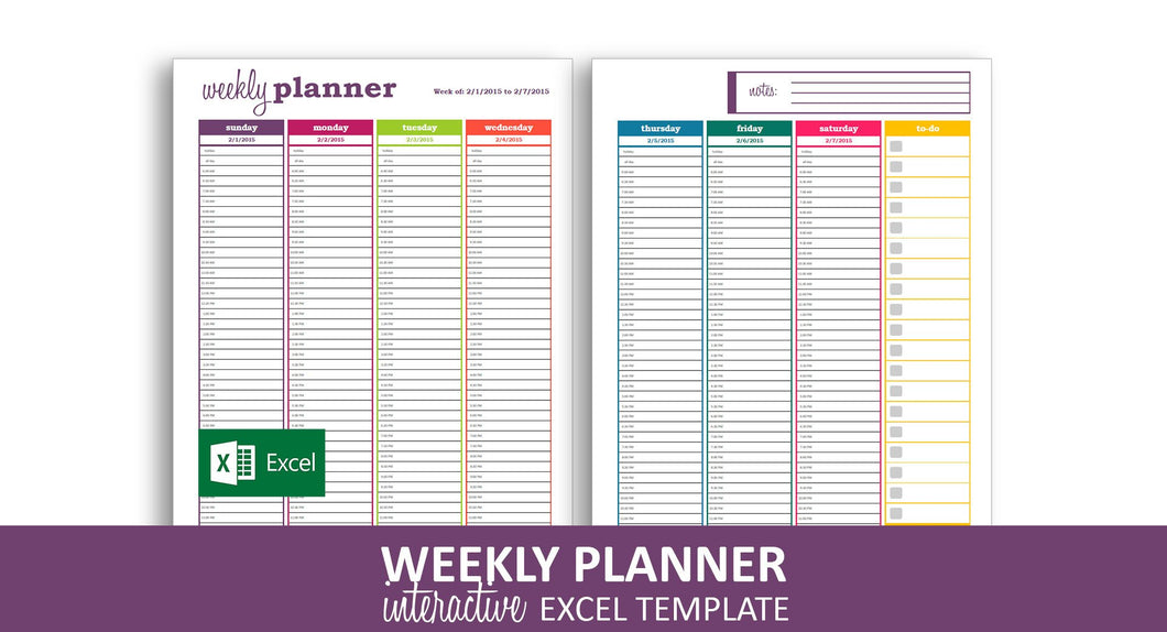 Dynamic Weekly Planner - Excel Template