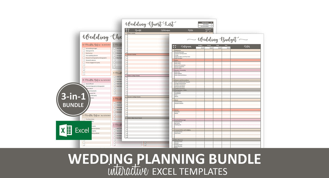 Peachy Wedding Bundle - Excel Templates