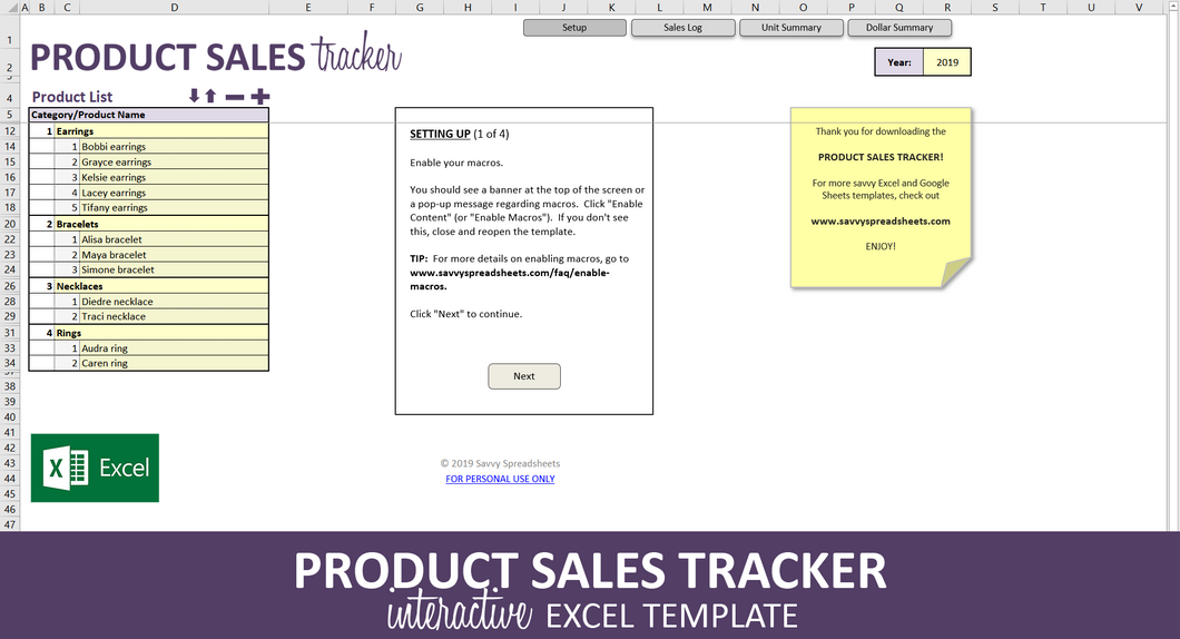 Product Sales Tracker - Excel Template