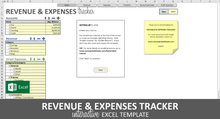 Load image into Gallery viewer, Revenue and Expenses Tracker - Excel Template