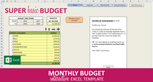Load image into Gallery viewer, Super Basic Budget - Excel Template