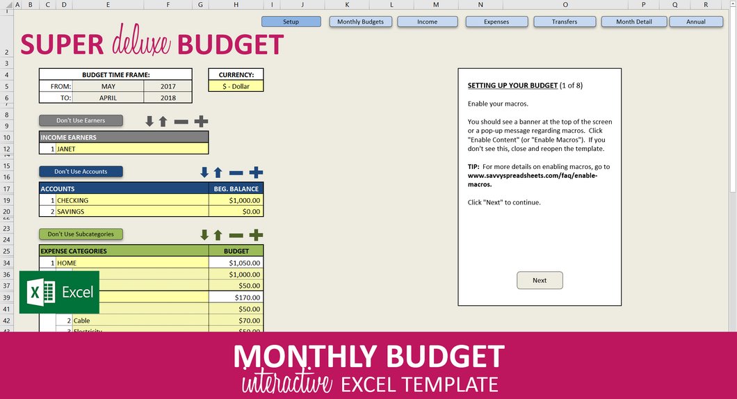 Super Deluxe Budget - Excel Template