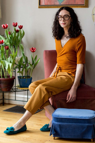 Eve Gravel Peninsula wrap top Amber Amanda Moss Peggy pants Ocre made in Montreal made in Toronto