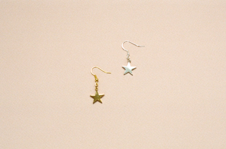 Eleventh House Jewellery Star Earrings Small Star Charm Dangling Earrings Gold Vermeil Sterling Silver Made in Toronto Gold Hoop Earrings Victoire Boutique