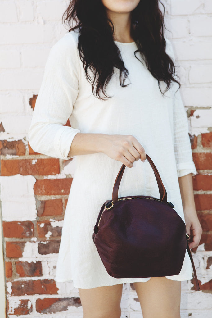 Eleven Thirty Large Katie Bag (Bordeaux) 1130 College made in Toronto italian leather made in Canada Victoire boutique
