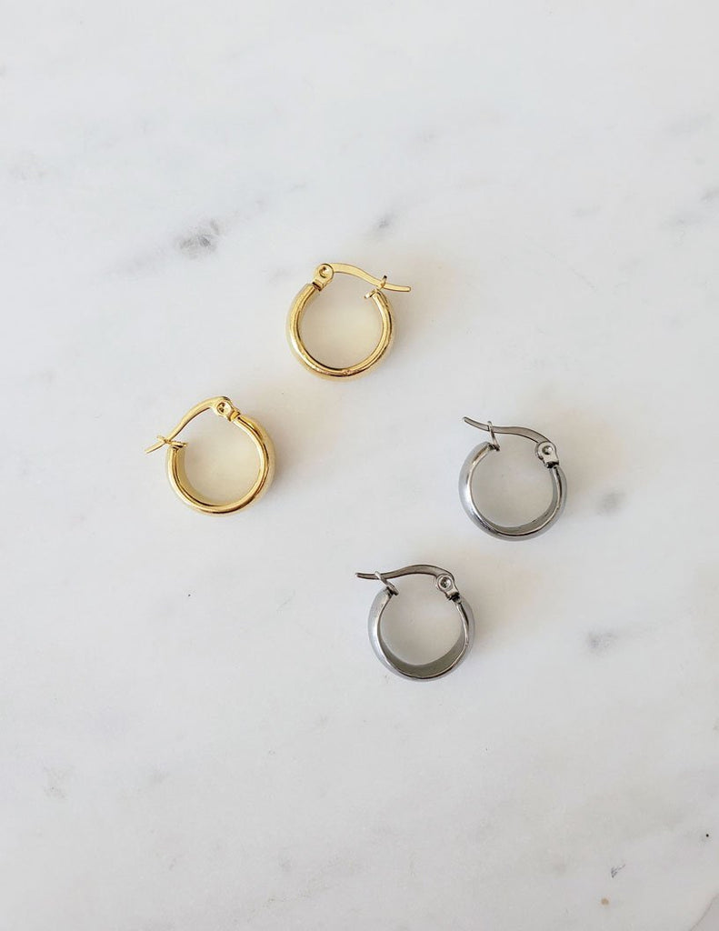Victoire Boutique Coutukitsch Mio Hoops in gold plated or stainless steel, small chubby hoop, made in Canada, Canadian designer, independent designer