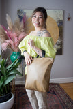 Eleven Thirty Toronto Purse Maker Melissa Bag Tan. Large Rectangular Leather Purse with Handles and Removable Strap.