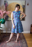 Birds of North America Peafowl Dress Stinger Victoire Boutique Ethically Made in Canada 100% Cotton Puff Sleeve Cute