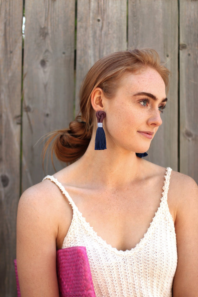 Talee Studio Earrings Hati Loop Earrings Knot Cotton Rope Earrings Made in Calgary Canadian Jewelry Knot Textile Earrings Statement Earrings