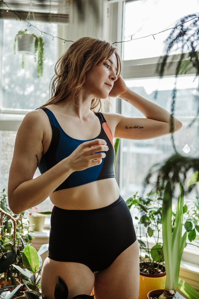 Minnow Bathers Toronto SS19 Collection Poetry of Forms Element Bottoms in Black high Waisted Bathing Suit Bottoms Full Coverage Print Made in Toronto Sustainable Swimwear Made in Canada Victoire Boutique