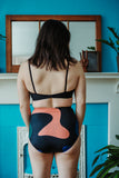 Minnow Bathers Toronto SS19 Collection Poetry of Forms Shell Top Black Sustainable Swimwear Recycled Fabric Swim Suit Bikini Top Bathing Suit Eco Friendly Ethically Made in Toronto Sustainable Swimwear Made in Canada Victoire Boutique