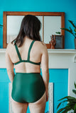 Minnow Bathers Toronto SS19 Collection Poetry of Forms Concrete Top in Green Made in Toronto Sustainable Swimwear Made in Canada Victoire Boutique