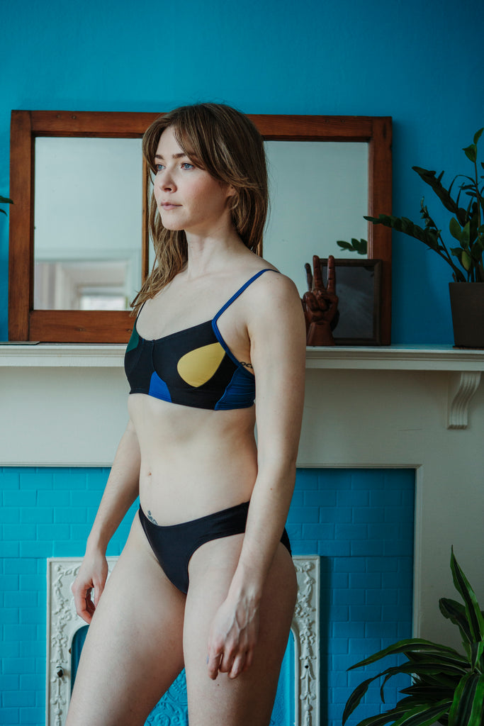 Minnow Bathers Toronto SS19 Collection Poetry of Forms Zip Bottoms in Black French Cut Swim Suit Bottoms Made in Toronto Sustainable Swimwear Made in Canada Victoire Boutique