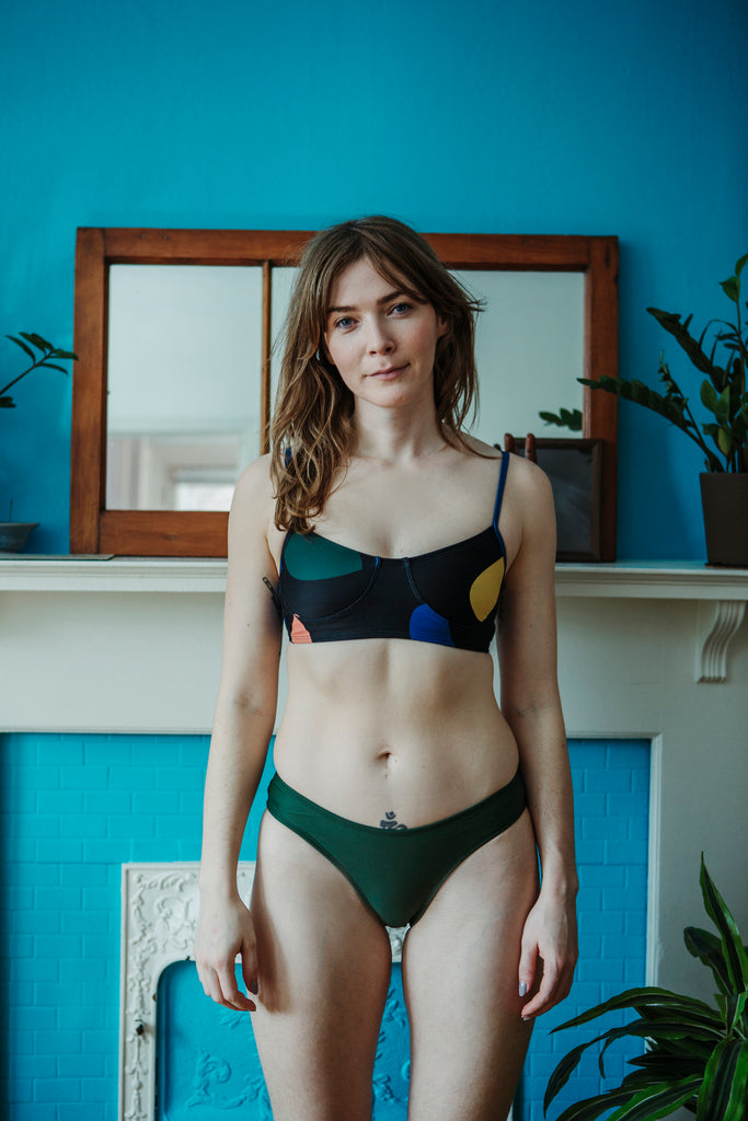 Minnow Bathers Toronto SS19 Collection Poetry of Forms Zip Bottoms in Green French Cut Swim Suit Bottoms Made in Toronto Sustainable Swimwear Made in Canada Victoire Boutique