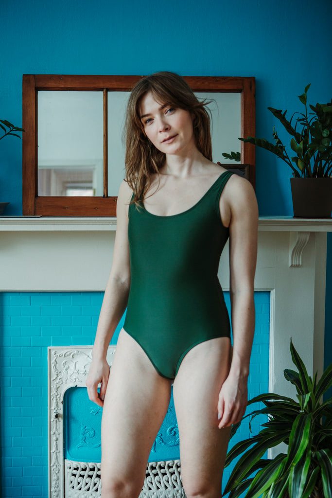 Minnow Bathers Toronto SS19 Collection Poetry of Forms Form Maillot One Piece Swimsuit in Green Made in Toronto Sustainable Swimwear Made in Canada Victoire Boutique