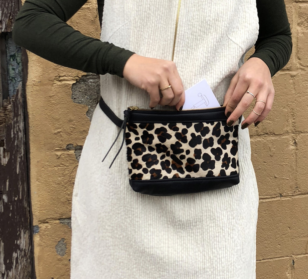 Eleven Thirty Shop Handbags Toronto bags Amada Fanny Pack Leopard Print Cow Hide Leather Made in Toronto Victoire Boutique