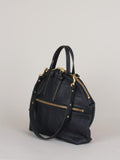 Eleven Thirty Anni Large Shoulder Bag (Black Croc Embossed with Front Zipper)
