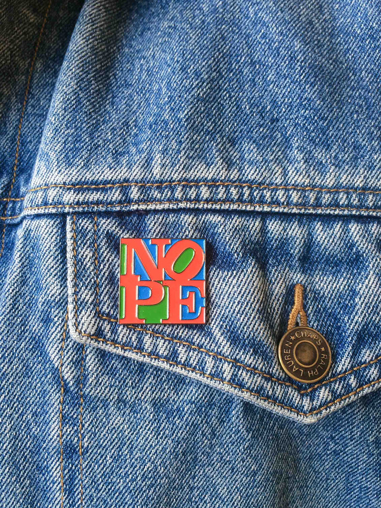 bruised tongue nope pin love robert indiana