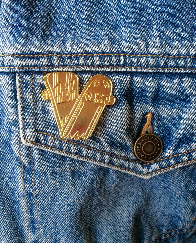 Bruised Tongue Gold Snapped Skateboard Pin Victoire Boutique