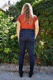 Iris Denim Toronto Bad Reputation Jeans Dark Blue Stretch Denim High Waisted Skinny Jeans Ethically Made Made in Canada Canadian Fashion Canadian Denim Victoire Boutique