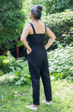 Birds of North America Clothing Toronto Canada Crossbill Jumpsuit Black. Full Body Tank Tailored Fitted Stretch Cropped Jumpsuit with Pockets made in Montreal made in Canada Victoire Boutique