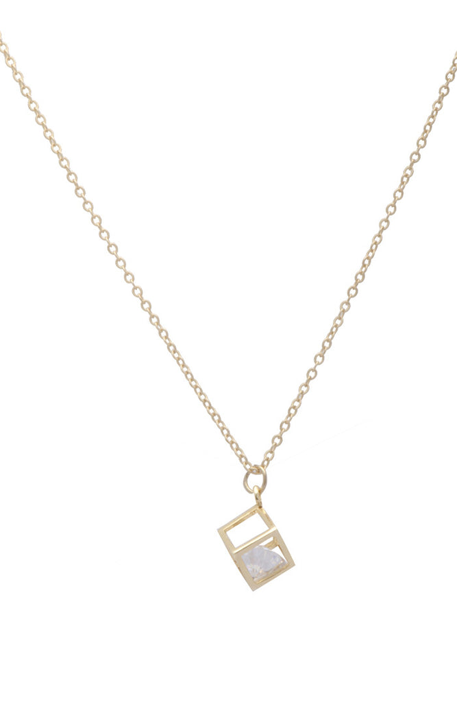 Sarah Mulder Bling Cube Necklace in Gold