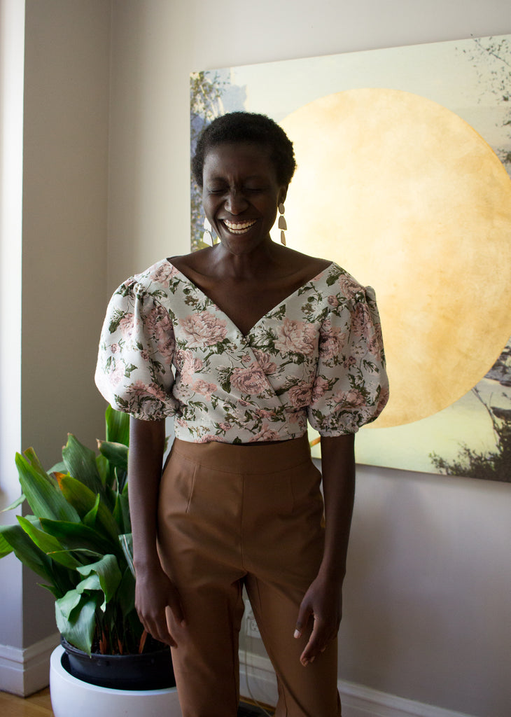 Rightful Owner Clothing Montreal Canada Marie Blouse Pink and Blue. Oversized Shoulder Puff Sleeve V-Neck Wrap Top in Brocade Floral Fabric.