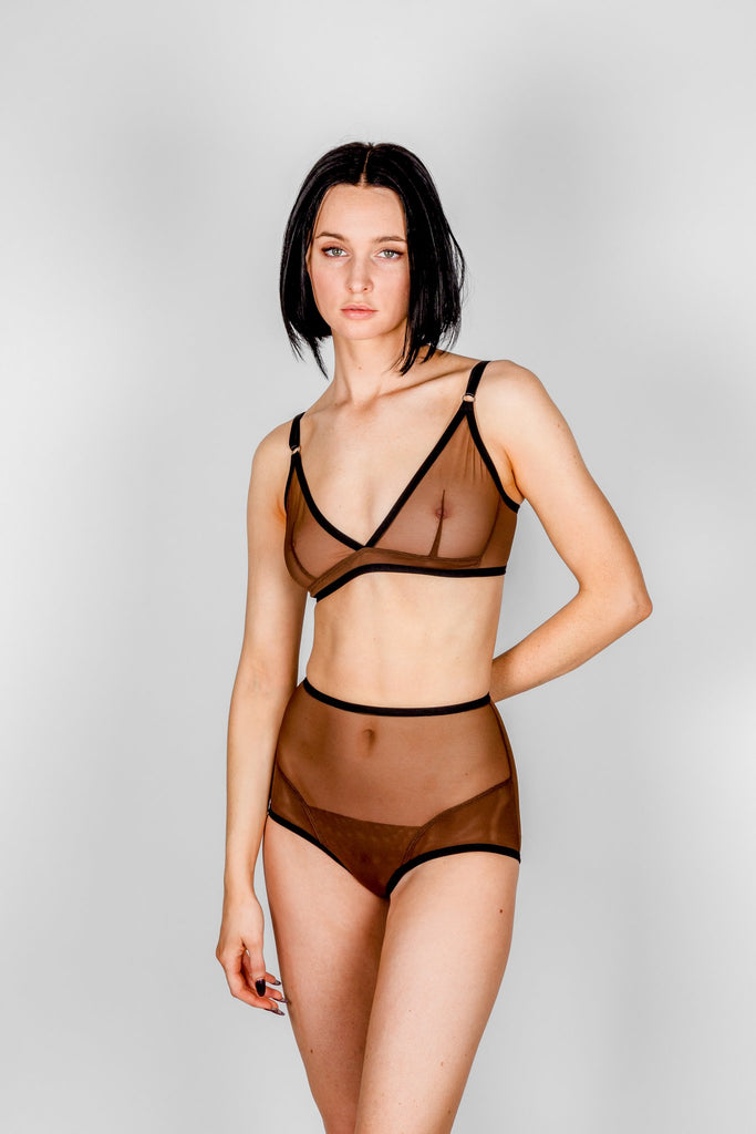 Bully Boy Lingerie Toronto Vivienne Bra Brown Mesh Triangle Handmade