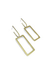 Natalie Joy Jewelry Portland Composition Collection Rectangular Unhoops Earrings Minimalist Brass Geometric Hanging Earrings Ships from Canada Victoire Boutique