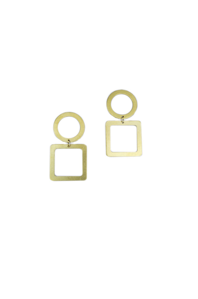 Natalie Joy Jewelry Portland Composition Collection Circle Square Earrings Minimalist Brass Geometric Hanging Earrings Ships from Canada Victoire Boutique