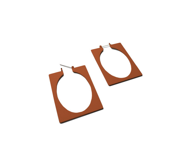 Natalie Joy Jewelry Portland Surrounding Space Collection Ellsworth Hoops Earrings Rust Egg Brass Enamel Square Hoop Earrings Statement Earrings Accessories Made in Portland, Oregon Ships from Canada Victoire Boutique