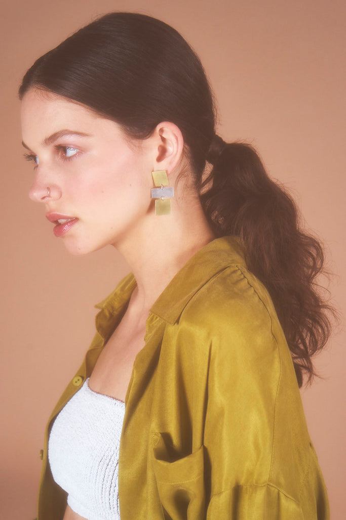 Natalie Joy Jewelry Portland Surrounding Space Collection Ruth Earrings Long Silver and Brass Earrings Statement Earrings Accessories Made in Portland, Oregon Ships from Canada Victoire Boutique