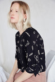 Eve Gravel Clothing Montreal FW2020 Sandstorm Top Tumbleweed Print Black and White Catherine D'Amours. Boxy Relaxed Square Cut Top with Dropped Shoulders, Half Sleeves and Tiny Bow.