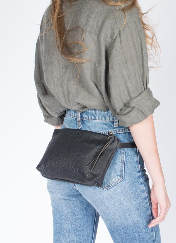 Eleven Thirty Shop Amada Fanny Pack Black Croc Embossed Leather Made in Toronto Canadian Fashion Canadian Leather Goods Victoire Boutique Ethically Made Zero Waste Leather