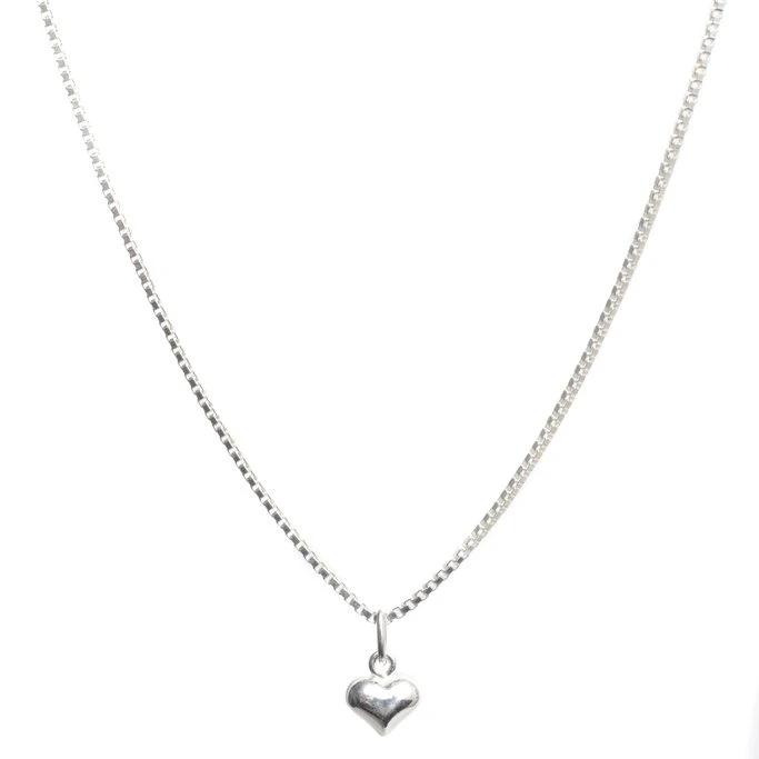 Lisbeth Florence Necklace puffy heart charm sterling silver made in Toronto Victoire Boutique