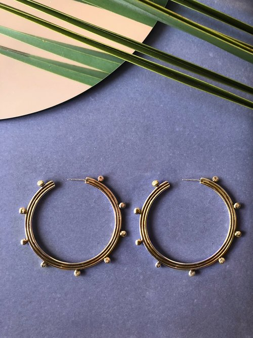 Solee Darrell Jewelry Moongate Collection Moongate Hoop Earrings Sterling Silver or Brass Statement Earrings Made in Oakland California Ships from Canada Victoire Boutique