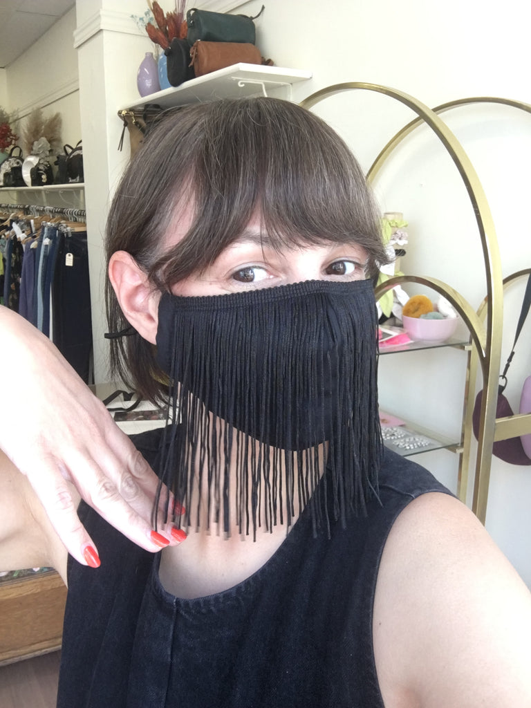 Really Man Clothing Toronto Black Fringe Mask. Orville Peck Black Cotton Mask With Polyester Fringe and Adjustable Ear Ties.
