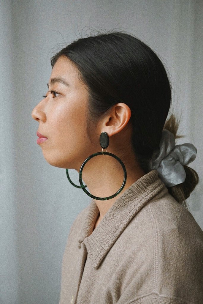 Foe and Dear Jewelry Vancouver British Leone Hoop Earrings Emerald Green and 14K Gold Fill. Oversize Disco Inspired Bold Statement Acetate and14K Gold Fill Earrings.