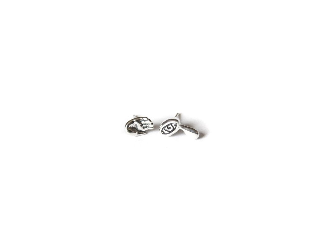 Elaine Ho Jewelry Talisman Earrings Sterling Silver Tiny Hands, Tiny Daggers Tiny Crying Eye Stud Earrings Victoire Boutique