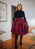 Kaela Kay Clothing Toronto Awo Skirt. Black and Red Voluminous Fitted Calf Length Circle Skirt.