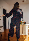 Birds of North America Clothing Toronto Canada Sarcelle Jumpsuit Faces Full Body Long Three Quarter Sleeve Tailored Polyester Jumpsuit with Pockets.